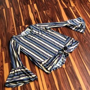 Entro Striped Knotted Bell Sleeve Top Size Small